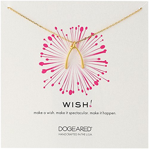 Dogeared Wish' Large Wishbone Charm Gold Plated Sterling Silver Chain - Wishbone Dogeared