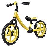Costzon 12'' Balance Bike, Adjustable Handlebar and Seat, No Pedal Walking Bicycle for Kids (Yellow)