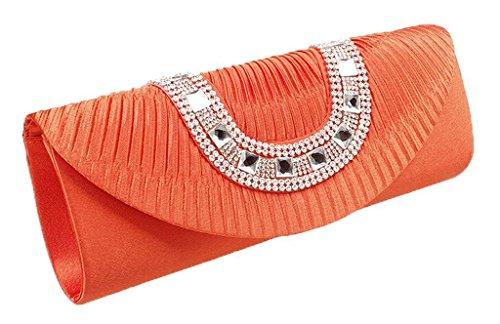 Peyviva Frauen Satin Plissee Abend Clutches Taschen mit Kristallrhinestone-Wei? Orange
