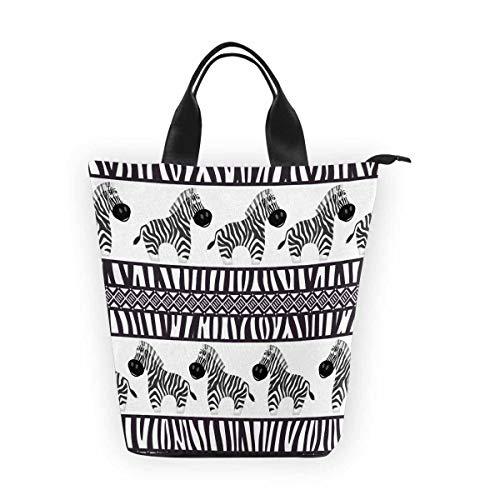 - InterestPrint Nylon Cylinder Lunch Bag Cute Zebra Tote Lunchbox Handbag