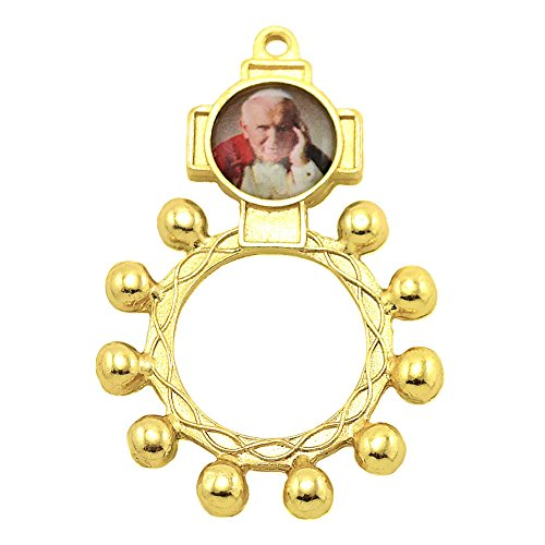 (Gold Finish One Decade Rosary with Image of Pope John Paul II)