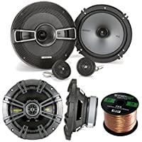 Car Speaker Set Combo Of 2 Kicker 40CS654 6.5 600w Two Way CS Series Car Audio Speakers + 2 Kicker 41KSS654 6-1/2 250W Car Component Stereo Speakers + Enrock 50ft 16g Speaker Wire