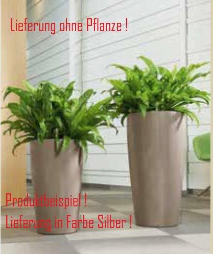 Blumenübertopf Rondo Premium, sonnen-und regenbeständig für Innen und Außen, inklusive Bewässerungssystem, Farbe Silber, Ø 32cm Höhe 56cm