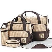 Diaper Bag Set for Boys Girls 5pcs Set Shoulder Stroller Straps Tote includes Padded Changing Pad (Brown)