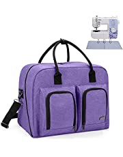 Teamoy Sewing Machine Carrying Case, Sewing Machine Tote with Bottom Wooden Board Pad for Most Standard Sewing Machines and Accessories