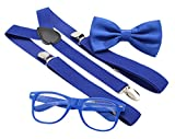 JAIFEI Hipster Nerd Outfit | Whimsical Sunglasses + Adjustable Suspenders + Bowtie Set | For Costume Parties & Hip Events (Royal Blue)