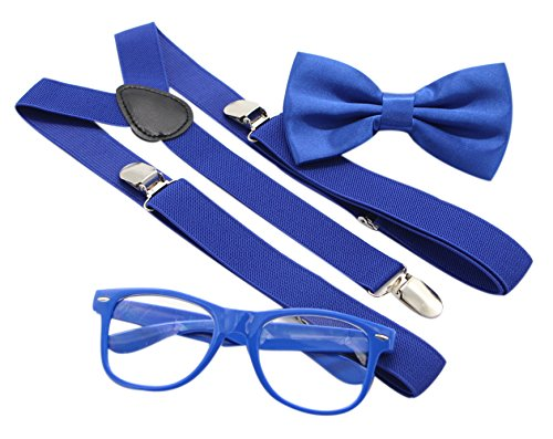 JAIFEI Hipster Nerd Outfit | Whimsical Sunglasses + Adjustable Suspenders + Bowtie Set | For Costume Parties & Hip Events (Royal Blue) -