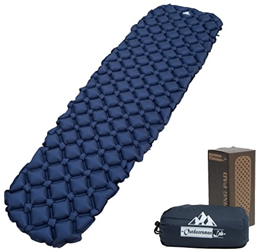 OutdoorsmanLab Ultralight Sleeping Pad - Ultra-Compact for Backpacking, Camping, Travel w/ Super Comfortable Air-Support Cells Design (Blue)