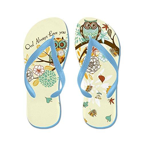 Cafepress Autumn Owl - Infradito, Sandali Infradito Divertenti, Sandali Da Spiaggia Blu Caraibico