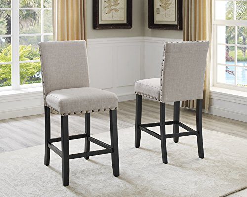 Biony Tan Fabric Counter Height Stools with Nailhead Trim, Set of 2 - Back Counter Chair Set