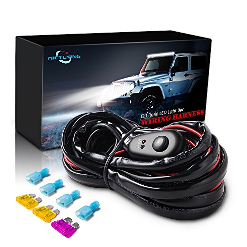 MICTUNING LED Light Bar Wiring Harness Off Road Power 40A Relay Fuse ON-Off Switch (2 Lead)