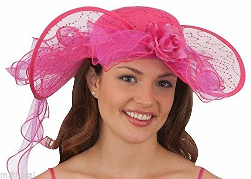 Jacobson Hat Company Wide-Brimmed Southern Belle Hat - Fuchsia -