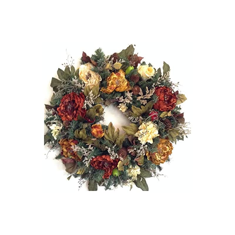 silk flower arrangements fall wreath, copper wreath, beautiful door wreath, 24inch
