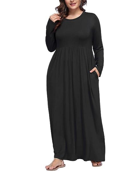 Hanna Nikole Women Plus Size Long Sleeve Loose Plain Casual Pockets Maxi  Dress