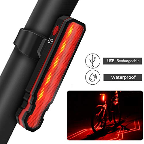 Passionfun Bike Tail Light Rechargeable Bicycle Rear Light, Red Bright High Intensity LED Bike Accessories for Cycling Safety Flashlight