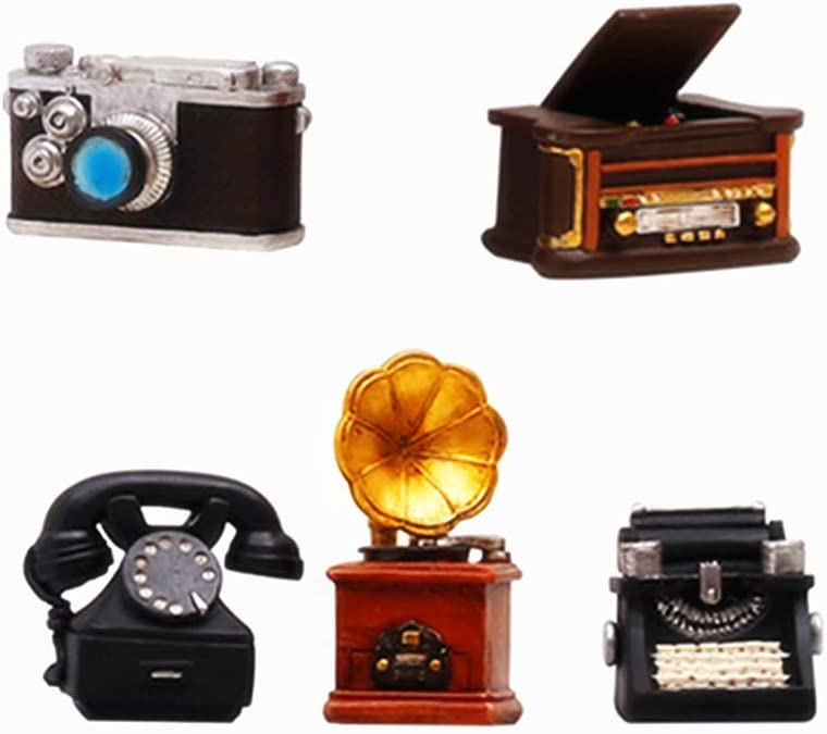Collectible Set of 5 Antique Mini Home Appliance Decoration Telephone /Typewriter/Camera/Phonograph/Sound player Creative Retro Decorating Cafe Bar Window Décor Props Home Décor Accents or kid's Toys