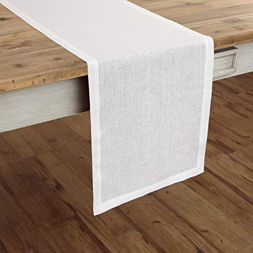 Solino Home Linen Table Runner - 14 x 72 inch, Crafted from 100% Pure European Flax - White, Athena by Solino Home (Image #4)