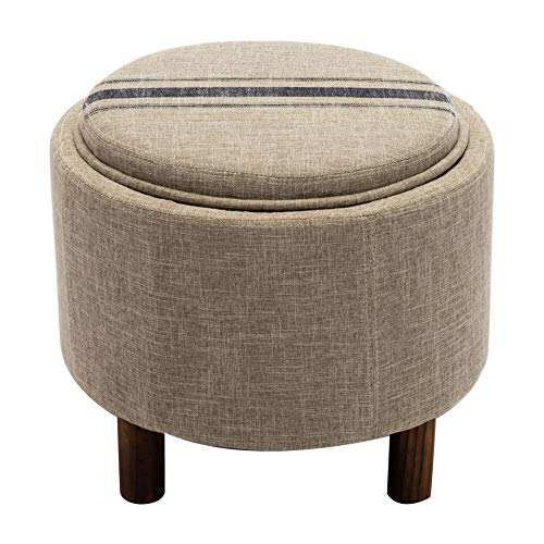Tray Ottoman Storage Round (Round Storage Ottoman with Tray, Tan Small Foot Rest with Removable Lid Top, Beige)