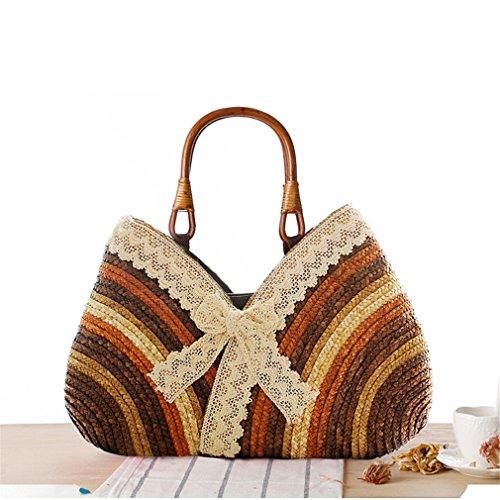 Beach Rattan Amuele Bag Straw Shoulder Straw Bag Bohemia Tote Woven Weave Brown Beach Handbag Women Bow Shopping Lace xZU4wZYq