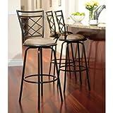 Avery Adjustable Metal Barstools, Set of 3 (Black)
