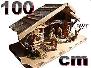 BTV K100OF Navidad cuna 100cm madera maciza con (fuera) iluminación/elegir con o sin imitación madera pintado a mano y barnizadas Belén figuritas/Ideal para escaparates