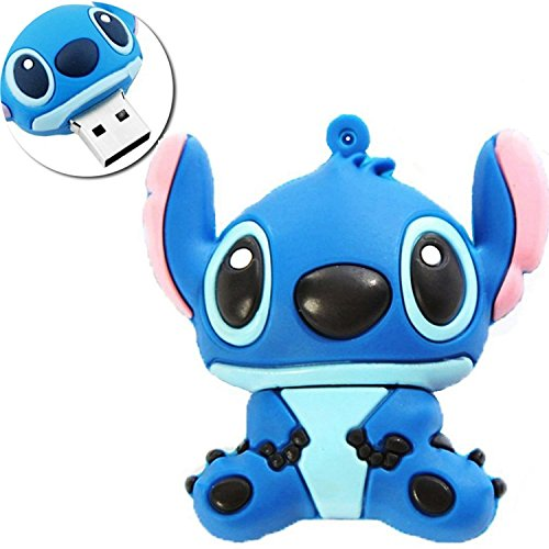 (Novelty Stitch Blue Shape Design 32GB USB 2.0 Flash Drive Cute Memory Stick Stitch Thumb Drive Data Storage Pendrive Cartoon Jump Drive Gift)