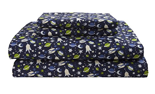 Elite Home Products Kids/Juvenile 90 GSM Microfiber Soft Printed Sheet Set, Twin, Stars & Planets