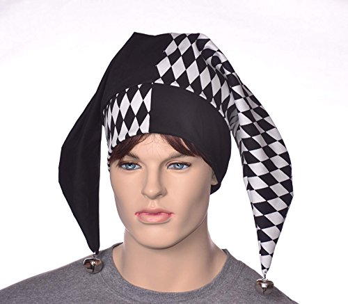 Harlequin Hat Black and White Diamonds Two Poined Jester Cap With Bells