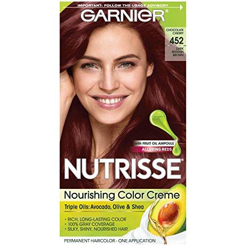 Garnier Nutrisse Nourishing Hair Color Creme, 452 Dark Reddish Brown  (Packaging May Vary) (Best Chocolate Brown Hair Color Box)