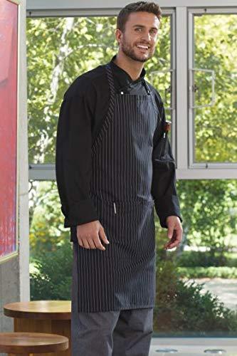 Uncommon Threads Unisex ADJ Butcher Apron 2 Section Pocket, Black/White Pin Stripe, One Size (Pin Chef Neck Tie)