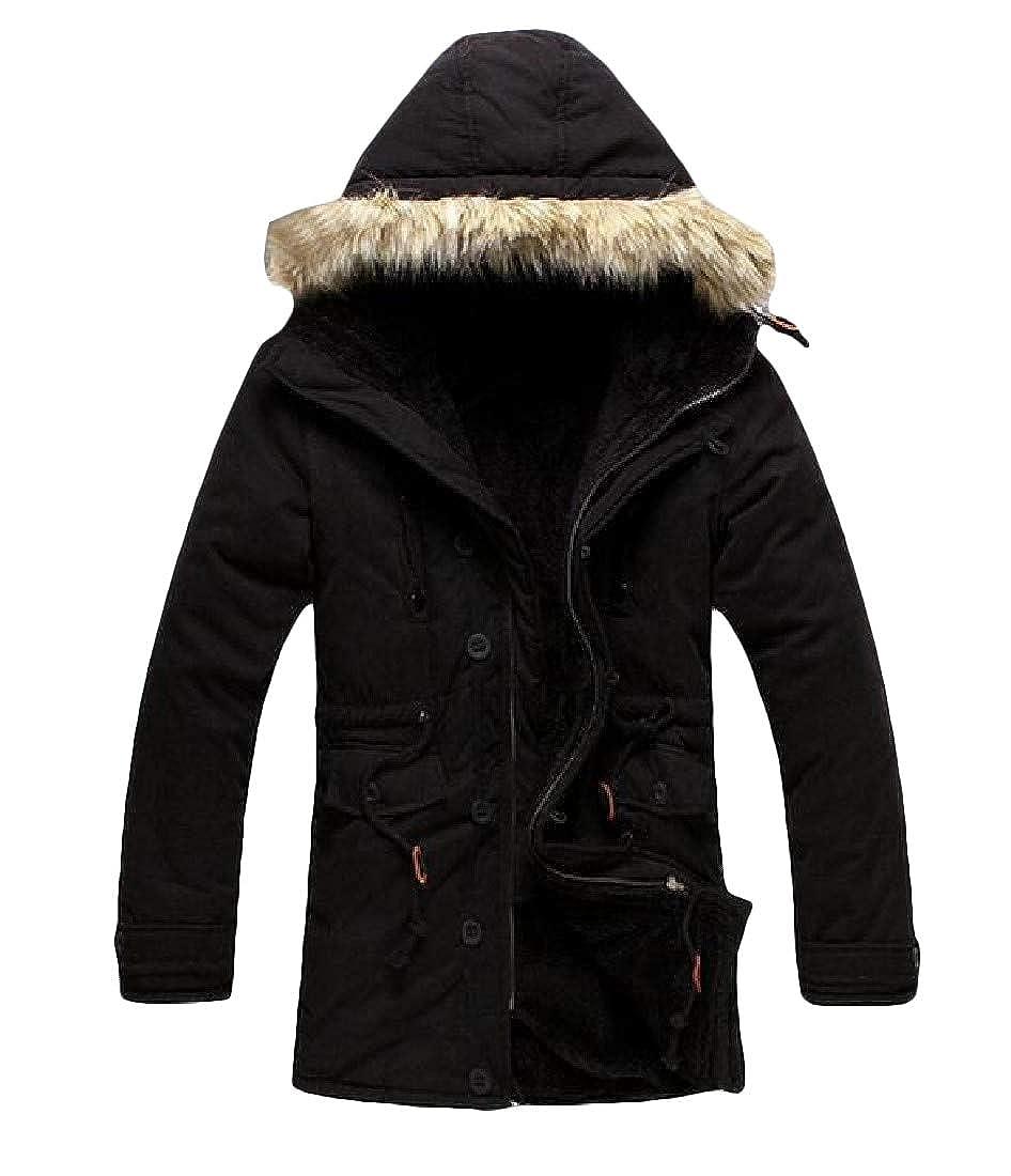 Sweatwater Men Outdoor Faux Fur Hood Wool Lined Winter Tie Waist Parka Jacket Coat