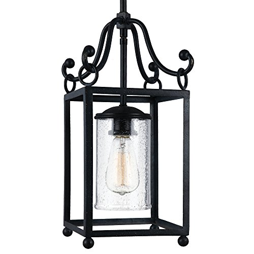 Feiss P1331AF Declaration Glass Pendant Lighting, 1-Light, Antique Forged Iron (8