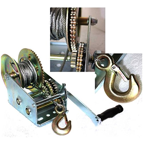 [3500 Pound Dual Gear Hand Winch Hand Manual Boat All Vehicle recreational vehicle Trailer 33ft Cable] (Exhaust System Call)