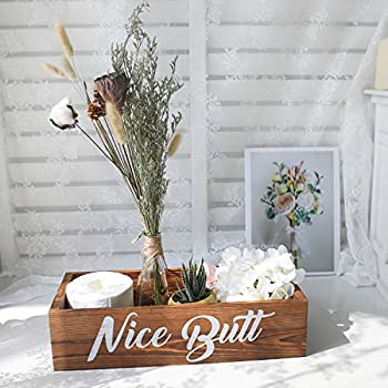 Amugo Farmhouse Bathroom Decor - Nice Butt Bathroom Decor Box - Wooden Bathroom Box, Tiolet Paper Holder, Rustic Home Decor, Funny Bathroom Decor