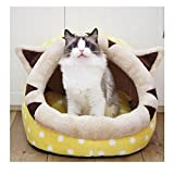 Saymequeen Cute Animal Cake Pet Bed for Small Medium Cat Dog Warm Nest House (cake yellow style)