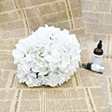 Homyu Artificial Hydrangea Flowers 5 Big Heads Bouquet Beautiful Flowers for Office Home Party Decoration (White)