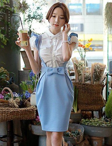 HJL-DABUWAWA Women's Bodycon/Work Suspender Skirts (Elastic/Polyester) , xl-light blue , xl-light blue from SDFSDCF