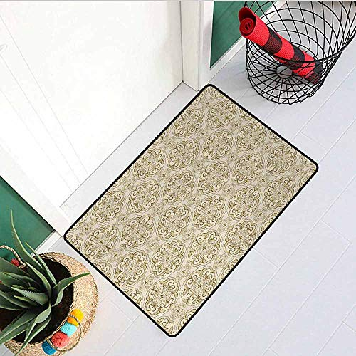 Gloria Johnson Beige Inlet Outdoor Door mat Baroque Floral Motif Western Classical Dramatic Era Art Antique Renaissance Nostalgic Catch dust Snow and mud W29.5 x L39.4 Inch Ecru Beige