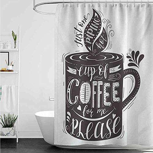 home1love Fabric Shower Curtain,Quote Hand-Drawn Artistic Lettering on a Coffee Cup Piping Hot Aromatic Beverage,Bathroom Decoration,W36x72L,Dark Taupe and ()