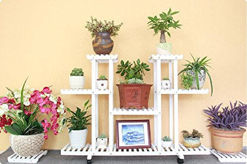Flower Rack Solid Wood Living Room Balcony Flower Pot Frame Multi-storey Floor Indoor Plant Flower Frame White 2580120cm ( Color : Pulley ) by LITINGMEI Flower rack