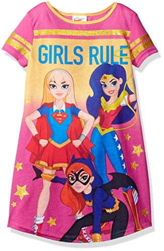 Superhero Dc Comics (DC Comics Big Girls' DC Super Heroes Short Sleeve Nightgown PJ, Pink, 4/5)