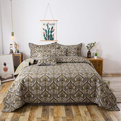 Tache Bohemian Spades Moroccan Neutral Olive Green Blue - Traditional Style Paisley Floral Damask Matelassé Bedspread Coverlet - 3 Piece Set - California King