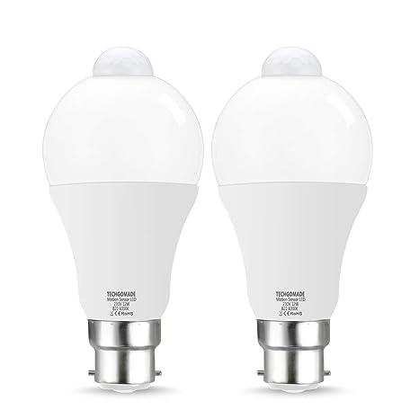 Techgomade - Bombillas LED de sensor de movimiento PIR, B22, 12 W, 100