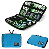 Electronics Phone Accessories Travel Bag Organizer, Waterproof Portable Cable Organizer Bag, Electronics Travel Gadget Carry Bag for Cables CordsChargers Plugs etc(M,Blue)