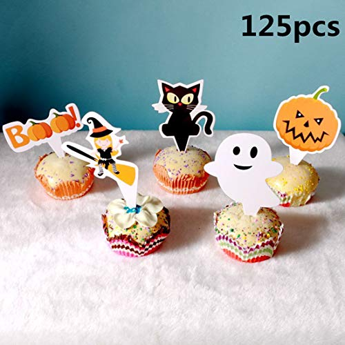 125PCS Cupcake Toppers Picks for Halloween Party Cake Decoration