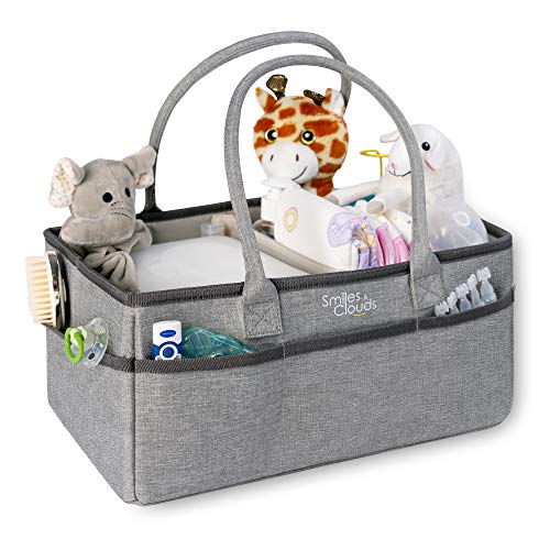 Baby Diaper Caddy Organizer-Nursery Tote with Removable Partitions Holds Newborn Travel Accessories with Car,Home for Changing Table,Essentials Storage and Portable Away-Baby Shower Gift Basket