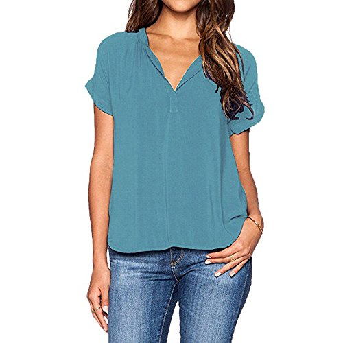 DaySeventh Summer Deals 2019 ! Womens Ladies Summer V Neck T-Shirts Casual Loose Tops Blouse Tee Blue