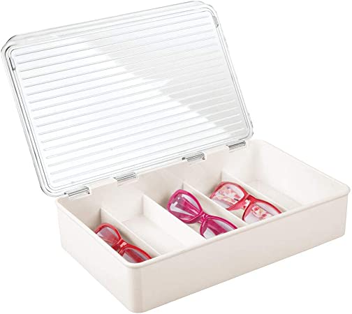 mDesign Cajas para gafas de sol – Clasificador de plástico con 5 compartimentos – Organizador de armarios para guardar todo tipo de gafas – crema y transparente: Amazon.es: Hogar