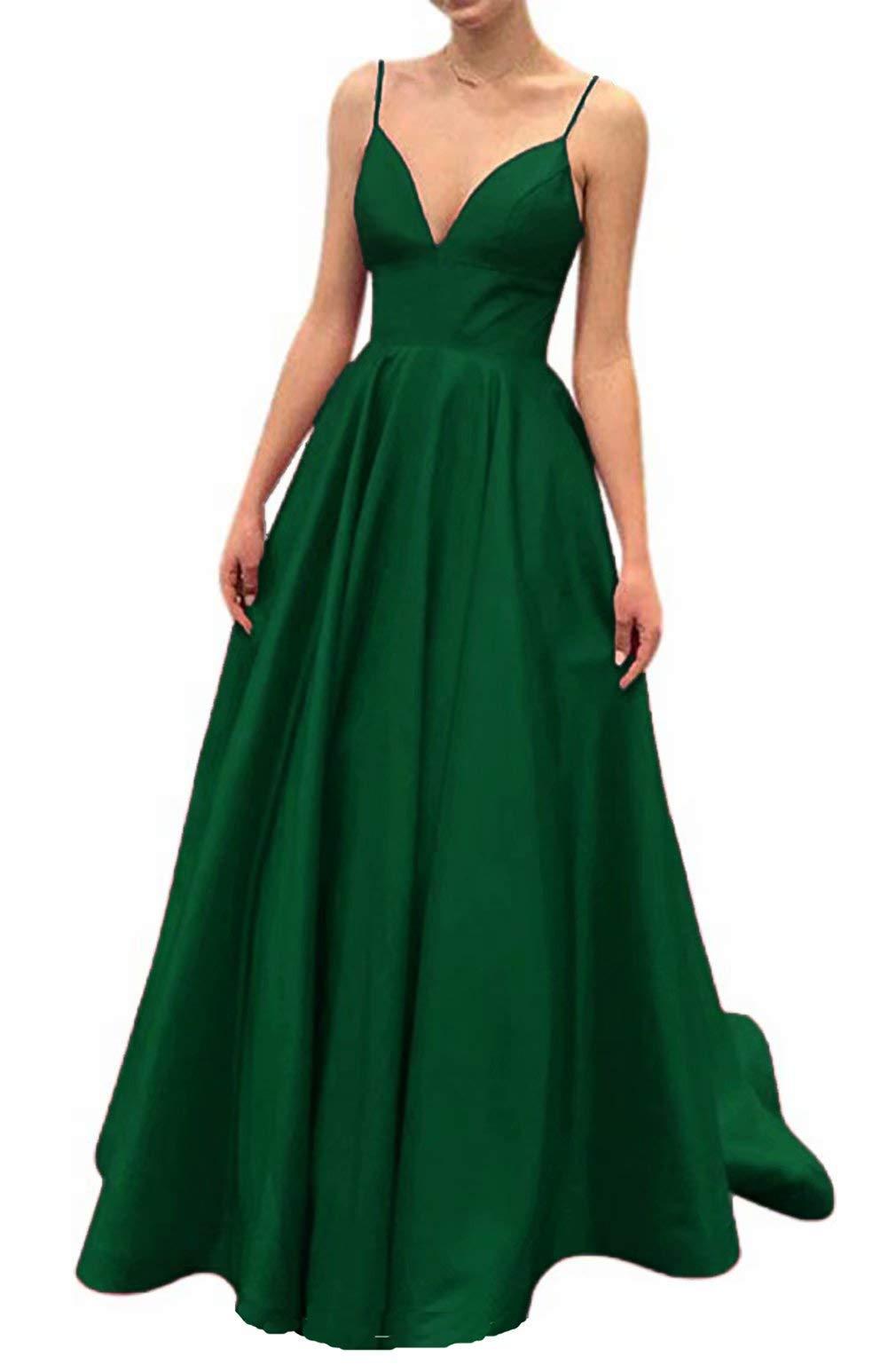united states cheap prices better Ri Yun Women's Spaghetti Strap V Neck Prom Dresses Long 2019 Satin ...