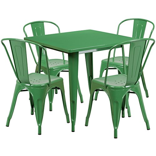 MFO 31.5'' Square Green Metal Indoor-Outdoor Table Set with 4 Stack Chairs